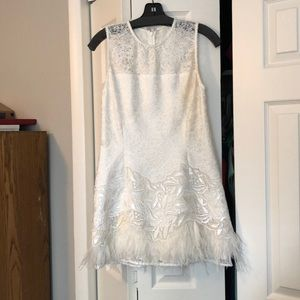 Alexis White sequin and feather dress - M